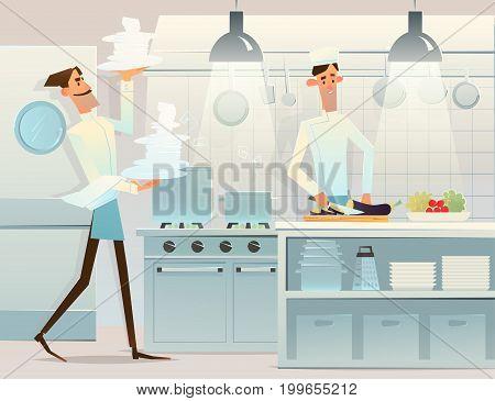 Two cooks in the kitchen. gourmet chefs . Vector illustration
