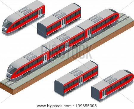 Isometric train tracks and modern high speed train Vector isometric illustration of a Fast-Train. Vehicles designed to carry large numbers of passengers