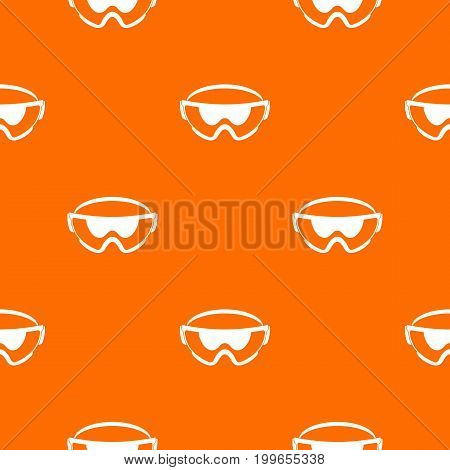 Safety glasses pattern repeat seamless in orange color for any design. Vector geometric illustration