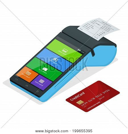 Vector payment machine and credit card. POS terminal confirms the payment by debit credit card, invoce. Isometric illustration in flat design. NFC payments concept.
