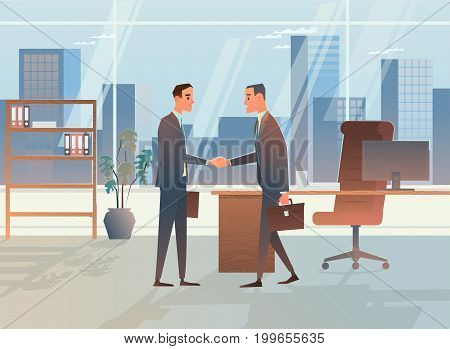 Two businessmen made a deal. The handshake of a lawyer and an economist. Business concept vector illustration