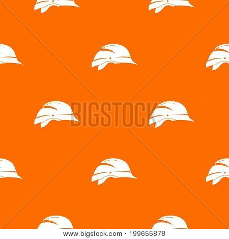 Hardhat pattern repeat seamless in orange color for any design. Vector geometric illustration