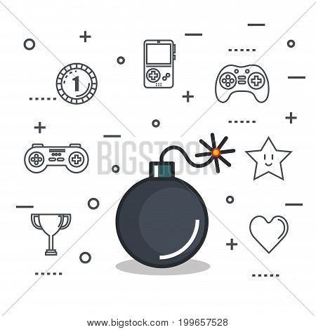video game bomb explosive button icon vector illustration