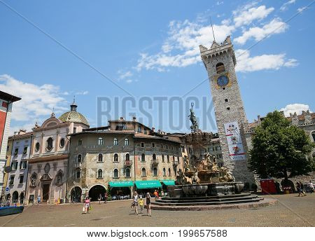 Torre Civica And Neptune Fountain In Trento, Italy