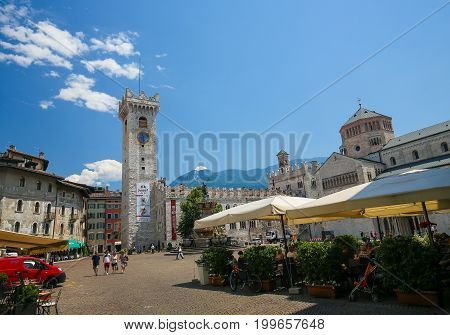 Torre Civica And Cathedral In Trento, Italy