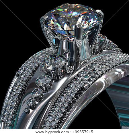 Silver band for engagement with gem. Top view of diamond facetes luxury jewellery bijouterie ring from white gold or platinum with gemstone. 3D rendering on black background. Close-up.