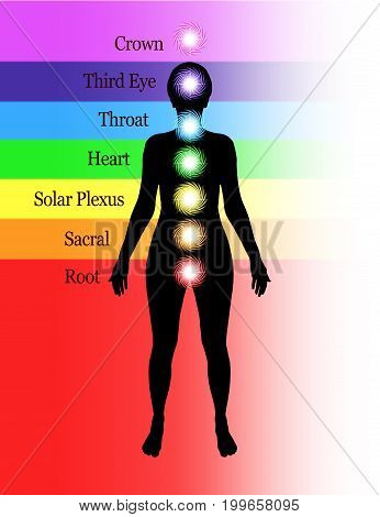 Seven Major Chakras Diagram - Simple diagram showing position of seven human chakras and their accepted names and colors