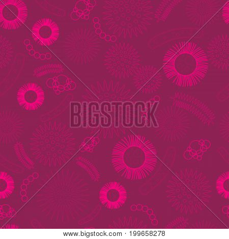 Virus, microbes, bacteria, seamless biological pattern. Cartoon vector illustration Monochrome, pink contour, red background. Scary bacteria virus embryos pathogens microorganisms