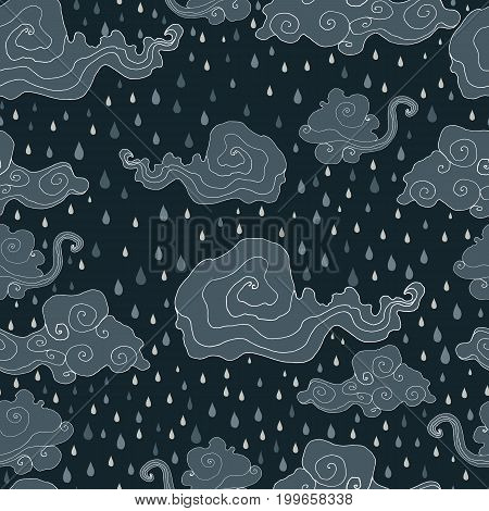 Bright, clouds, cloud, raindrops, monochrome, gray, black color background A stormy rainy seamless pattern Vector hand drawn illustration