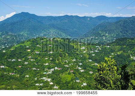 Landscape village in the mountains against the blue sky