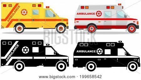 Detailed illustration of colored and black silhouettes jewish car ambulances in a flat style on a white background. Vector illustration.