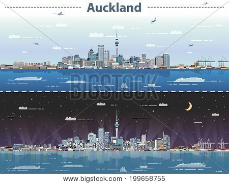 vector illustration of Auckland at day and night