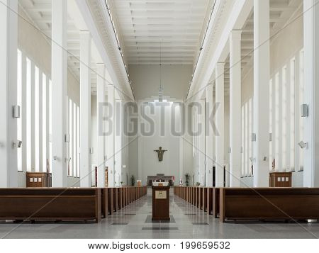 Kaunas, Lithuania - May 12, 2017: Interior Of Our Lord Jesus Christs Resurrection Church In Kaunas,