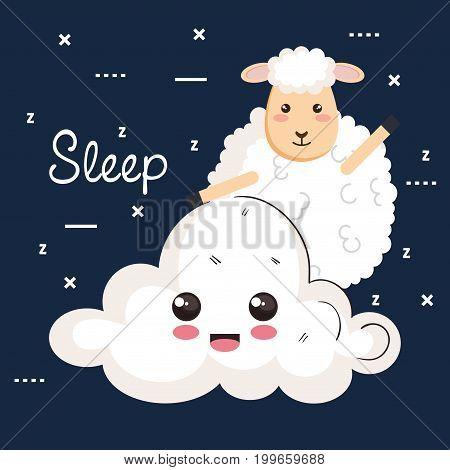 good night sleep cartoon sheep animal cloud vector illustration