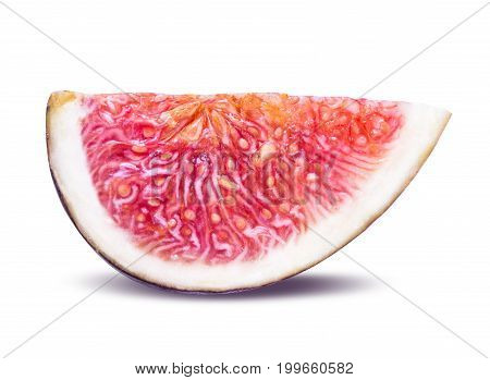 One Piece Of Sliced Ripe Figs Isolated On White Background