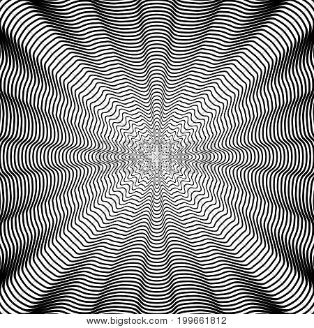 Abstract geometric striped pattern. Black and white background. Vector illustration. Stripes texture.