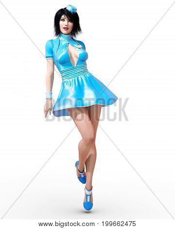Tall beautiful woman flirtatious stewardess. Short blue dress. Green eyes. Conceptual fashion art. Seductive candid pose. Realistic 3D render illustration. Studio, high key.