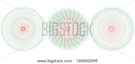 Guilloche pattern rosette for certificate diploma voucher banknote money design currency check ticket etc. Vector illustration. Abstract circular frame from thin lines.