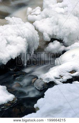 Winter river in Sumava mountains, Czech republic