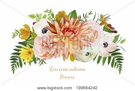Flower airy loose wreath bouquet of pink garden Rose yellow Primrose orange Dahlia flowers anemone forest fern green leaves eucalyptus greenery Wedding trendy vector watercolor style card illustration