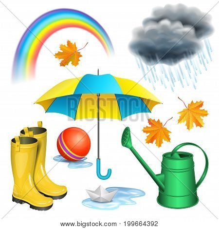 Rainy day set. Umbrella boots rainbow clouds with raindrops paper boat in puddle green watering can children red ball maple leaves. Autumn rain childhood concept. Vector illustration