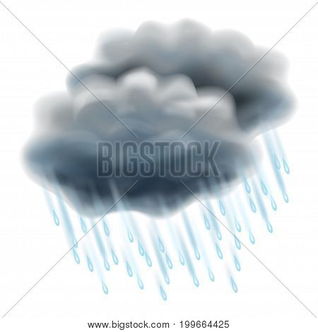 Rain illustration. Realistic gray clouds and raindrops. Autumn and rain different weather season specific. Vector illustration