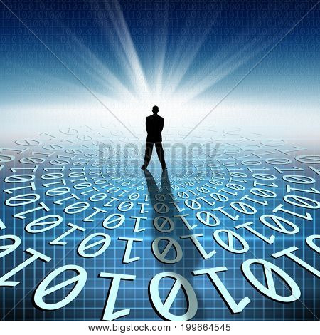 conceptual image of silhouetted businessman on binary code matrix