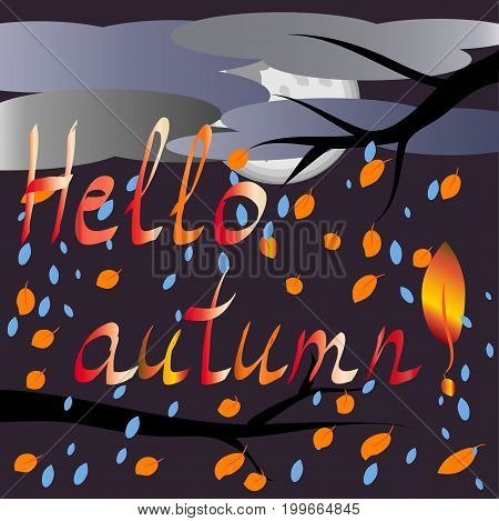Hello, autumn. Landscape autumn: the moon behind the clouds, the sky is clouded with clouds, rain falling yellow leaves from the black branches