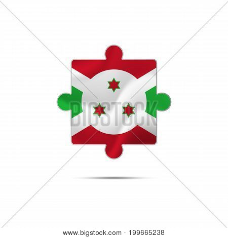 Isolated piece of puzzle with the Burundi flag. Vector illustration.