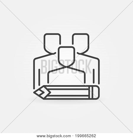 Copywriters concept icon. Vector people with pencil symbol or design element in thin line style