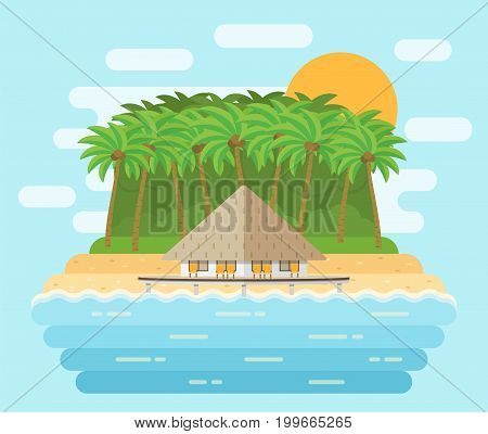 Tropical island in flat design. Bungalow on beach with palms in the middle of ocean. Vector sea landscape background.