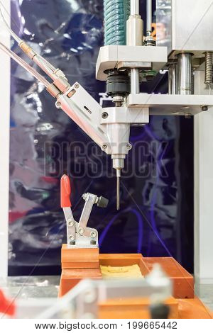 robot drill machine tool at mobile industrial manufacture factory