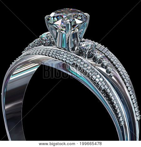 Silver band for engagement with gem. Cropped of diamond luxury jewellery bijouterie ring from white gold or platinum with gemstone. 3D rendering on black background. Family values.