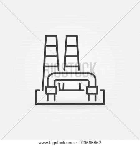 Outline geothermal power plant icon. Vector renewable energy concept sign