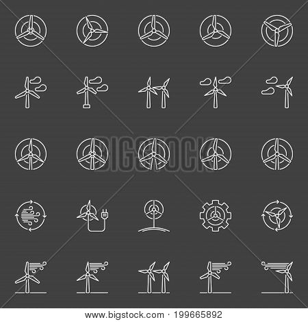 Wind generator and turbine icons - renewable energy concept outline signs on dark background