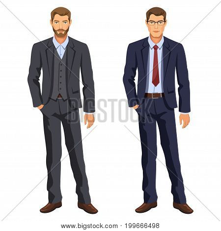 Two men. Man in business suit. Elegant young cartoon businessman. Guy in costume. Stock vector