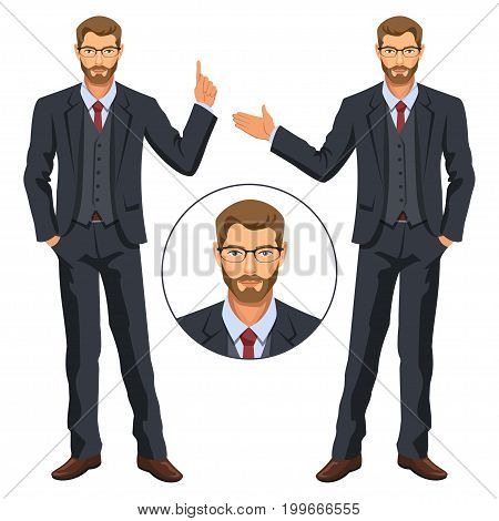 Man in business suit with vest. Bearded guy gesturing. Elegant businessman in costume. Avatar. Stock vector