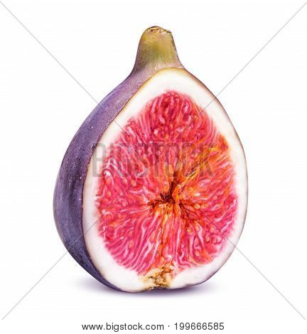 One piece of sliced ripe figs isolated on white background clipping path
