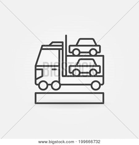 Car transporter icon - vector minimal car carrier concept symbol or design element in thin line style