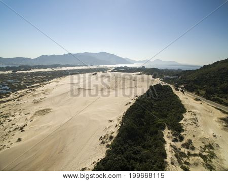 Aerial View Joaquina Beach In Florianopolis, Brazil. July, 2017.