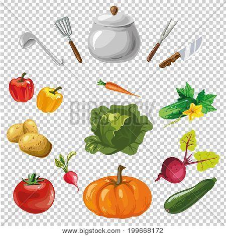 illustration of various utensils on a transparent background vector