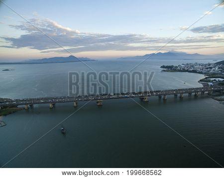 Aerial View Florianopolis Bridge, Brazil. July, 2017.