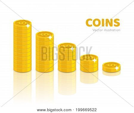 Gold dollars piles cartoon style isolated. Heaps of gold dollars of various heights for designers and illustrators. Stacks of gold pieces in the form of a vector illustration