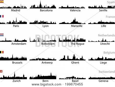 European cities skylines isolated on white vector set
