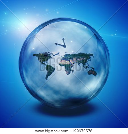 World in crystal ball.   3D rendering     Some elements courtesy of NASA