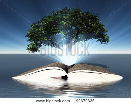 Surreal digital art. Green tree grows from open book.   3D rendering