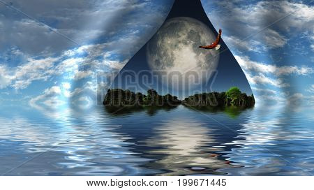 Surreal digital art. Eagle flies over water surface. Giant moon behind curtains of sky.   3D rendering     Some elements courtesy of NASA