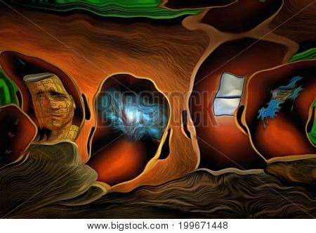Surreal painting. Men's heads with different thoughts.   3D rendering
