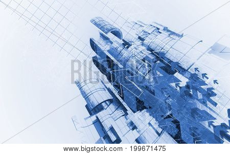 3D rendering of digital arrows technology background