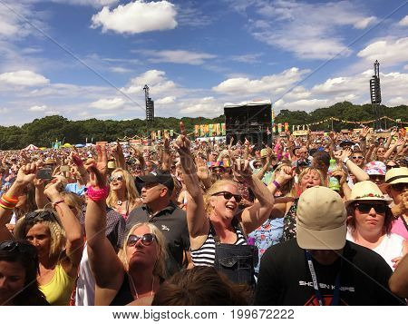 SOUTHAMPTON UK - July 8 2017: Lets Rock Southampton 80s music festival in Southampton UK. People dancing and having a good time.